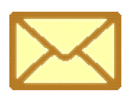Pixel icon image of closed yellow mail envelope consisting of cubes photo