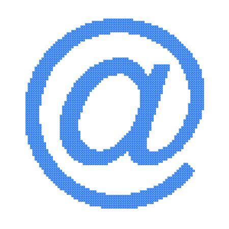 Pixel image of blue email at symbol consisting of cubes photo