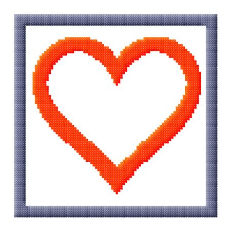 Pixel icon image of heart in gray frame consisting of cubes