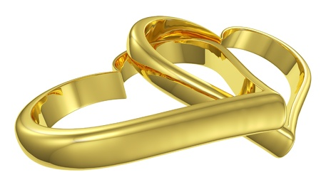 Couple of lying chained golden hearts isolated on white background diagonal view, wedding symbol photo