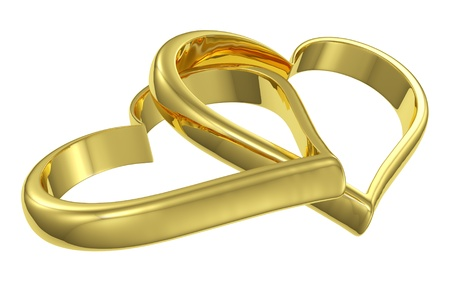 Couple of chained golden hearts isolated on white background diagonal view, wedding symbol photo