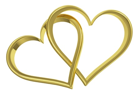 Couple of chained golden hearts isolated on white background front view, wedding symbol photo