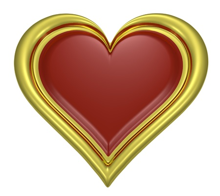 Golden heart pendant with dark-red middle isolated on white background photo