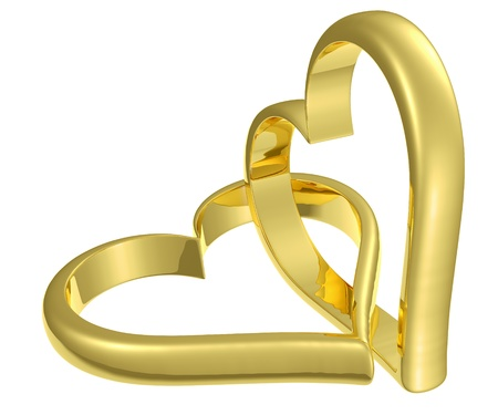 Couple of chained golden hearts isolated on white background, wedding symbol Stock Photo