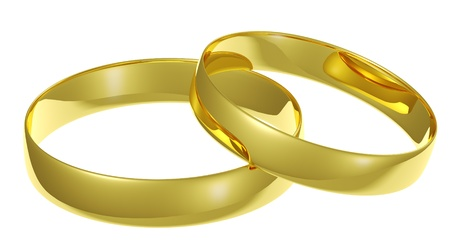 Two golden wedding rings isolated on white background