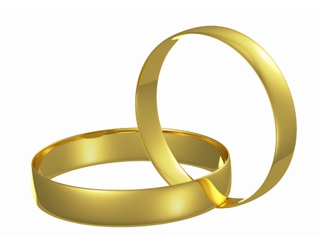 Two chained golden wedding rings isolated on white background photo