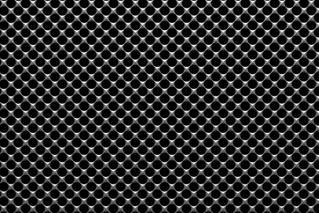 under view: Steel grid with round holes and reflection on black background under the light in front view, abstract textured background