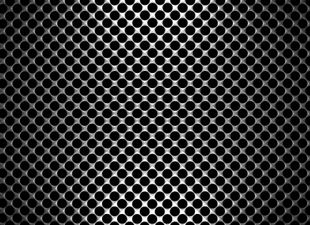 Steel grid with round holes and reflection on black background under the straight central light, abstract textured background photo