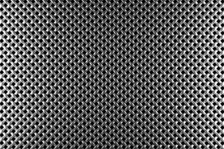 Braided diagonally oriented wire steel grid with reflections on black background under the left and right light, abstract textured background