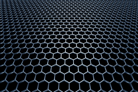 Blue steel grid with hexagonal holes and reflection on black background in perspective view photo