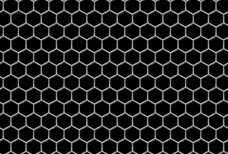 Stalen rooster met zeshoekige gaten en reflectie op zwarte industriële abstracte textuur naadloze achtergrond
