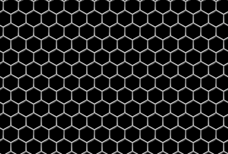 Steel grid with hexagonal holes and reflection on black industrial abstract textured seamless background Stock Photo