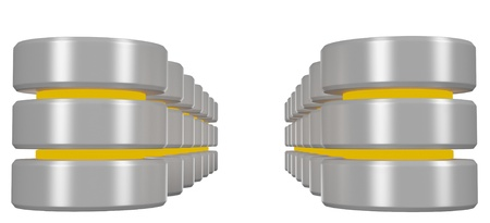 Rows of databases icon with yellow elements isolated on white background perspective view