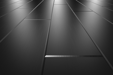 Metallic parquet flooring made of metal scratched blocks perspective view under three lights abstract industrial background Stock Photo - 18376899