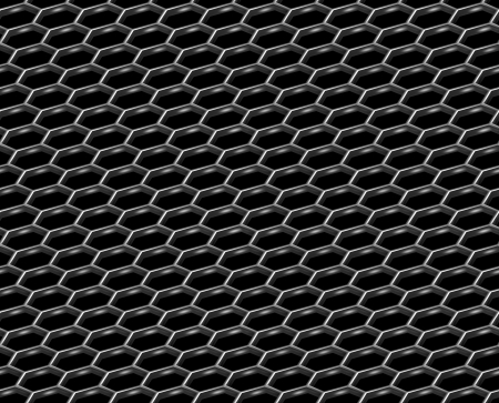 hexahedron: Steel grid with hexagonal holes and reflection on black diagonal view industrial abstract textured seamless background