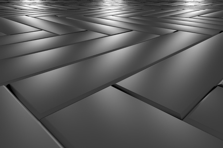 Metallic classic parquet flooring made of metal blocks perspective view under three lights abstract industrial background