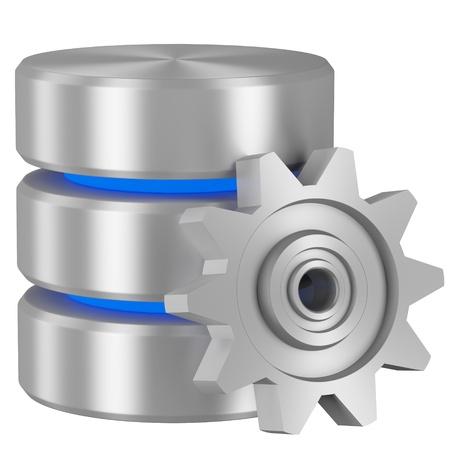 データ処理概念アイコン: 青い要素と白の背景に分離された金属歯車とデータベース