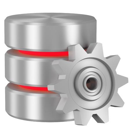 Gegevensverwerking begrip icoon: Database met rode elementen en metalen tandwiel geïsoleerd op witte achtergrond Stockfoto