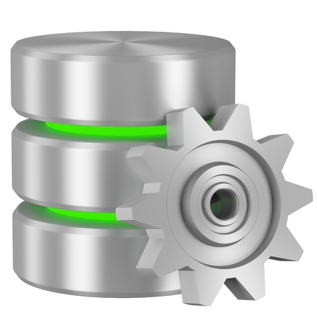 Data processing concept icon: Database with green elements and metal cogwheel isolated on white background Stock Photo