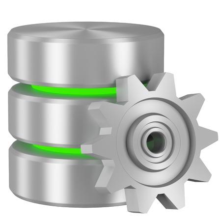 Gegevensverwerking concept pictogram: Database met groene elementen en metalen tandrad geïsoleerd op witte achtergrond