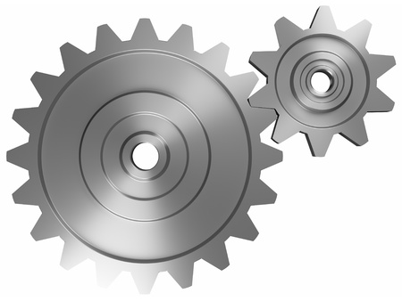 industrial and business processing and working concept: two steel interlocking cogwheels on front view over isolated white background
