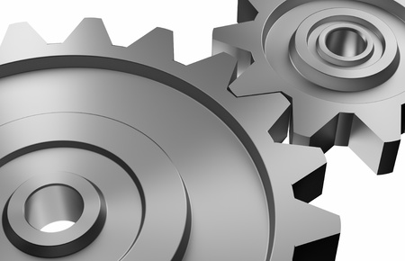 industrial and business processing and working concept: two steel interlocking cogwheels on upward diagonal over isolated white background photo
