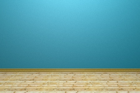 batten: Empty room with blue rough wall, beige wooden batten floor and plinth Stock Photo