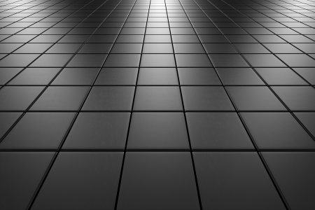 floor covering: Steel square scratched tiles flooring perspective view shiny abstract industrial background