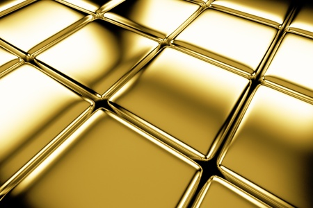 Golden cubes flooring diagonal view shiny abstract industrial background photo