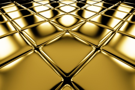 Golden cubes flooring diagonal perspective view shiny abstract industrial background photo