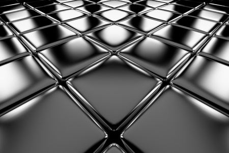 Steel cubes flooring diagonal perspective view shiny abstract industrial background Stock Photo - 19128659