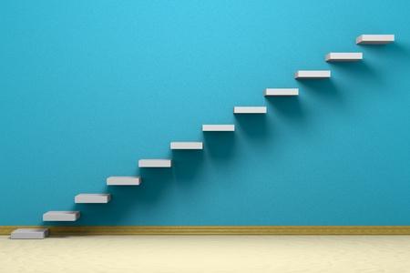 escalera: Sala vac�a con escaleras ascendentes, pared �spera azul, piso de color beige y z�calo Foto de archivo