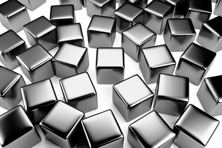disorderly: Uniqueness and identity concept: steel cube surrounded by a crowd of the same scattered steel cubes