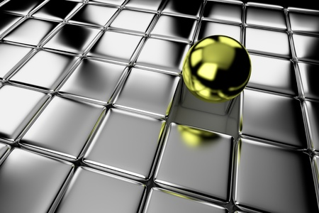 one different shiny gold ball standing out in the crowd of steel cubes photo