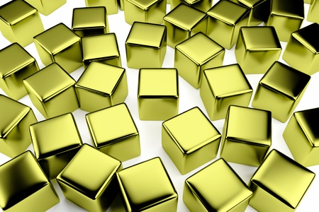disorderly: golden cube surrounded by a crowd of the same scattered gold cubes