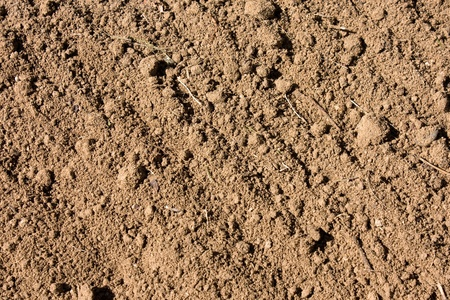 furrow: Soil textured surface with grooves background under bright sunlight Stock Photo