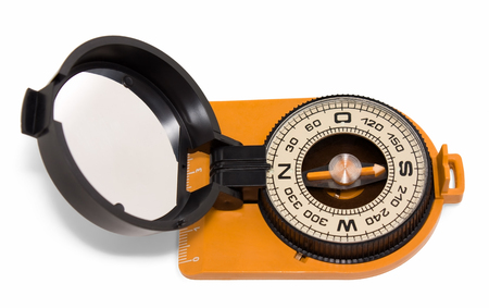 Plastic tourist compass with mirror isolated on white background top view photo