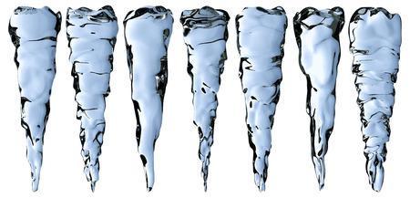 frigid: Blue clear icicles isolated on white background, decoration element set