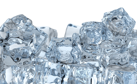 Heap of many blue clear ice cubes isolated on white background photo