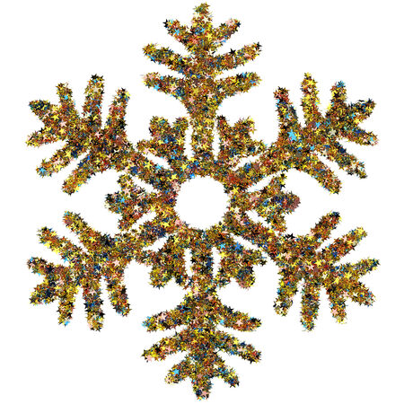 Decorative snowflake made of small colored foil stars confetti isolated on white background photo