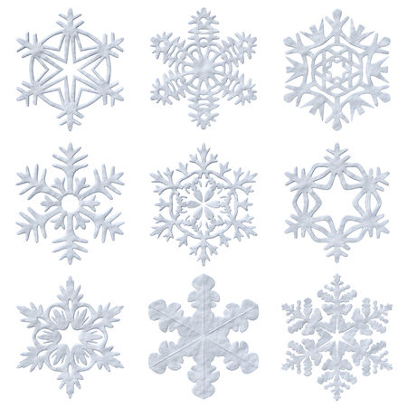 Set of snowy blue decorative snowflakes isolated on white background photo
