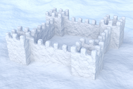 uneven: White toy show fort on the uneven snow surface under sun light 3d illustration