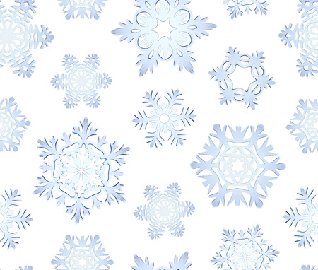 icy: Blue icy decorative snowflakes seamless background Stock Photo