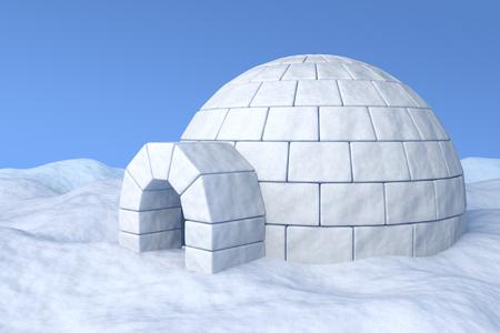 esquimales: Dep�sito de hielo del igl� en la nieve blanca bajo el cielo azul ilustraci�n tridimensional Foto de archivo
