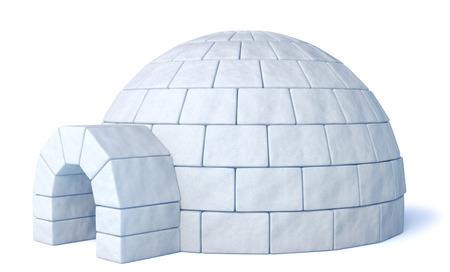 Iglo ijskelder op geïsoleerde witte drie-dimensionale afbeelding Stockfoto