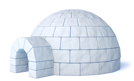 Igloo icehouse on isolated white three-dimensional illustration Stok Fotoğraf