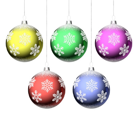 Christmas balls with snowflakes hanging on strings set isolated on white  photo