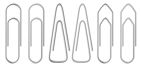 Set of metal paperclips of various shapes isolated on white background Stock Photo