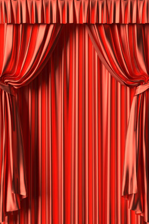gathers: Red silk theater curtain with gathers under the lights