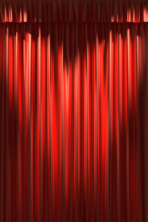 Red silk curtain with gathers under two diagonal spot lights in the shape of heart photo